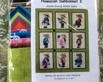 Hawaiian Sunbonnet #2 Quilt Kit   ( Finished 41inches X 49 inches)