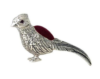 Novelty detailed pheasant bird pin cushion with natural ruby eyes 925 sterling silver hallamark