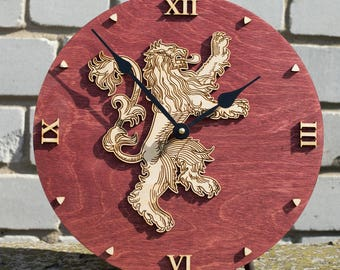 Game of thrones, House Lannister clock, Emblem of Lannister, GoT, Lion decor, Lannister Art, Game of Thrones Gift, men