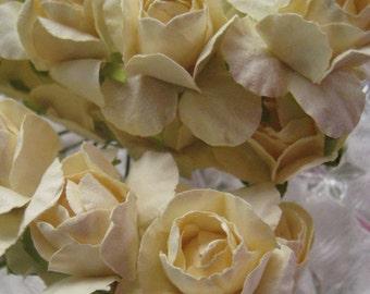 Paper Flowers 32 Spring Millinery Roses In Ivory ~ 4 Bundles