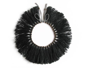 "Full Fringe Choker with brass beads, ""Black"""