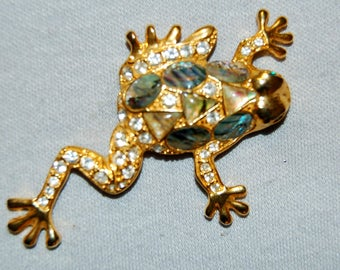Large Rhinestone  Brooch, Frog Toad Abalone, Vintage old jewelry