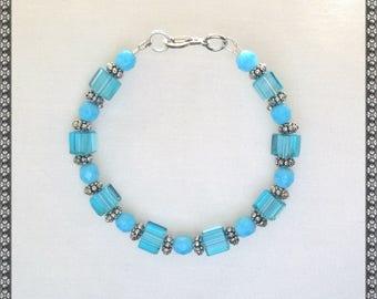 blue bracelet, light blue bracelet, crystal bracelet, turquoise, light blue