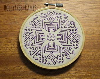 Purple Geometric Embroidery, Hoop Art, Embroidery Art, Hand-Stitched Embroidery, 4 inch Hoop