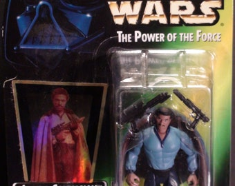 1997 Kenner Star Wars Power Of The Force Lando Calrissian Rare Blue Shirt Green Card New In Package