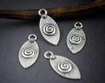 6 pcs - charms shuttles silver-plated, spiral and Sun • 21mm x 9mm