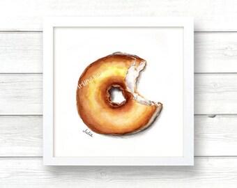 Donut art, print of original watercolor painting