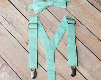 Mint Suspender and Bow Tie Set Free Shipping Offer Color Match To David's Bridal and Vera Wang Mint Sizes Newborn to Adult