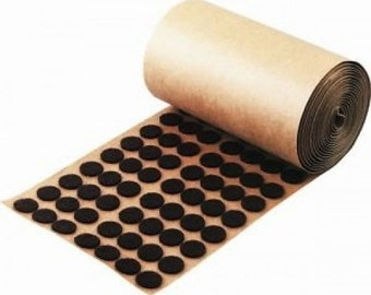 "Adhesive Backed Brown Felt Roll Button Pads - 1000 per roll - 1/2"" Protection"
