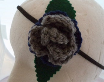 Crocheted Rose Headband - Blue and Gray (SWG-HH-HWRA01)