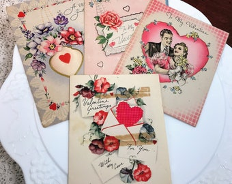 To My Valentine - 4 Lovely Flowers & Hearts Vintage Valentines - All Made in USA - Used - 1940's Love - Foil Embellishments - Serious Love