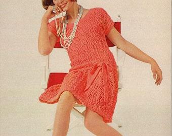 Doris Dress  • 1960s Mod Dress Sweaterdress Patterns • 60s Vintage Lace Knitting Pattern • Retro Knit PDF
