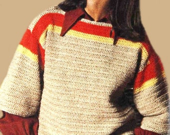 Crochet TOP Pattern - Vintage 70s Bohemian Sweater Top - Crochet Blouson Pattern - INSTANT DOWNLOAD - Digital Pattern - Pullover Top