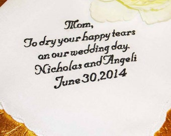 Custom Embroidered Mother of the Bride Handkerchief - 15 Word Limit -FREE Gift Box - Embroidered Handkerchief for Mom - Custom Handkerchief