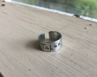Personalized Couples Ring - Silver - Couples Ring - Taken with initials