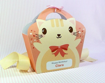 Kawaii Cat Giftbag Cute Valentine's Day Easter Love Birthday Party Treat basket Cat Bag Packaging Editable Printable PDF