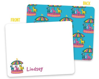Custom Kids Carousel Note Cards - Carousel Stationery - Pen Pal Cards - Flat Note Cards - Personalized Stationery for Kids - Back to School