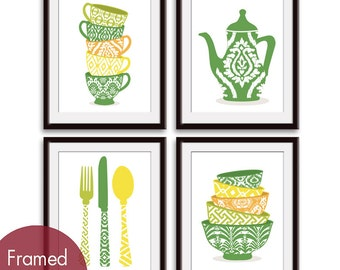 Cute Kitchen Pattern Utensils (B) (Cups, Tea pot, Utensils and Bowls) Set of 4 - Art Prints (Green, Orange, Yellows) Kitchen Art Prints