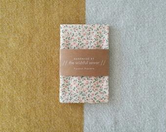 Japanese cotton pink floral pocket square // floral pocket square / pink pocket square / wedding pocket square / men's handkerchief