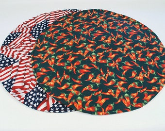Hot Peppers Table Runner, Round, 4th of July Home Decoration, Chili Peppers / Flags, Reversible, Quilted, Handmade, 20 in. dia.