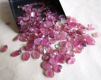7 Pcs Pink Tourmaline, Rose Cut Cabochon, Pink Tourmaline Flat Cabochons, Rose Cut Gemstone, Faceted Cabochon 5mm To 9mm, SKU-RS38