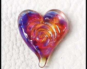 Spiral Heart Double Helix Clio Lampwork bead, glass heart by MMB SRA #U5