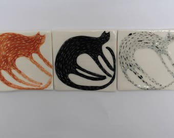 Three cats - porcelain tiles - handmade and handpainted tiles, wall decor