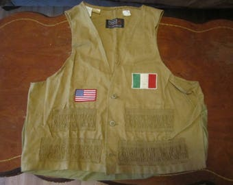 Vintage Mans Hunting Vest Large 42-44 by Sears Roebuck. USA Flag and  Italian Flag Patches. Hunting, Fishing, Camping Vest