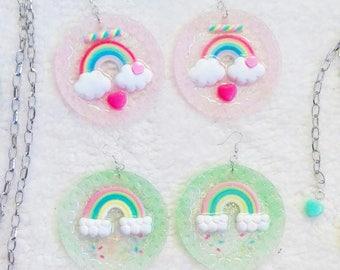 UV Reactive Rainbow Earrings