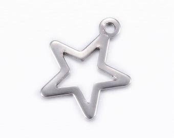 10pcs 304 Stainless Steel Charms, Star, Stainless Steel Color, 15x13x0.8mm, Hole: 1mm