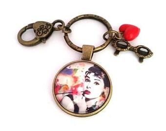 Key Audrey Hepburn, bag charm, glass cabochon, bronze, gift idea for her, alodycrea