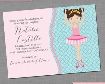 Quatrefoil Dance Recital Invitation - Ballet Recital Invitation - DIY Printable Invitation