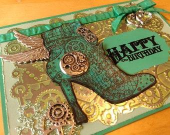 Green High Heel Happy Birthday Steampunk Card / Icarus Heel Card / Fashionista Card /