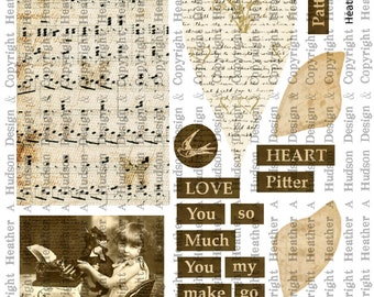 Shabby Vintage  chic Valentine's Day Romantic Music Tags Digital Collage sheet