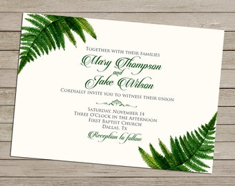 Custom Botanical Fern Invitation - Wedding - Birthday - Bridal Shower - Baby Shower - Graduation - Retirement - Printable Invitation