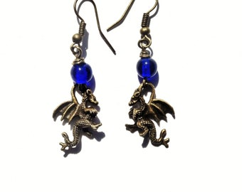 Dragon Earrings /  Bronze Dragon Earrings with Cobalt Blue Glass Beads / Serpent Dangle Earrings / Gothic Earrings