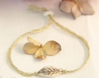 Bracelet 'Daydream' wire sand and bronze leaf motif - Creation China ©