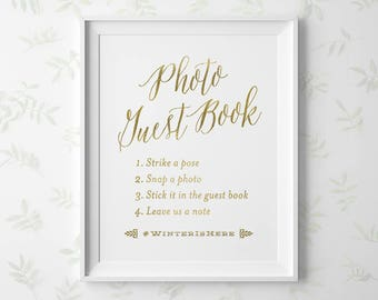 PRINTABLE Wedding Photo Guestbook Sign, Gold Photo Guest Book Sign with Hashtag, Gold Wedding Signs, Instagram Hashtag 5x7 8x10 11x14 WS1GP