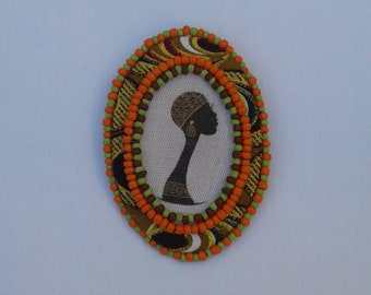 OOAK Authentic African Brooch Pin Ankara, gift for mom, gift for wife, statement brooch, African