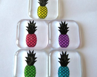 Pineapple Themed Square Glass Magnets Set of 5