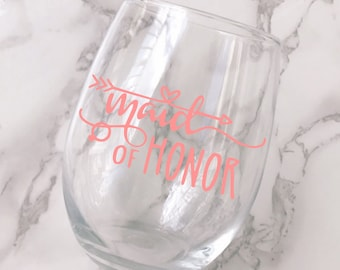 Maid of Honor Wine Glass Decal - DECAL ONLY