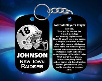Football Players Gift - Dog Tag Keychain - Super Hard Anodized - Personalized Name, Team & Number