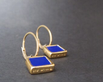 Reversible Enamel and Vermeil Earrings in Dark Green and Cobalt - Gold plated earrings - Cobalt Blue Earrings