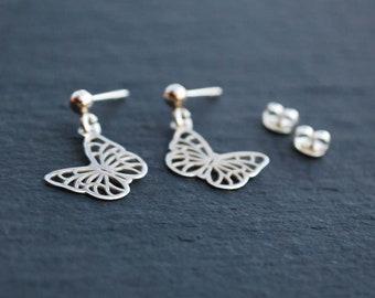 STERLING SILVER earrings, openwork Butterfy, silver 925, studs