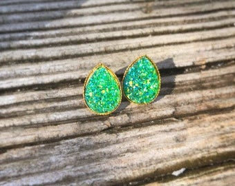 Mermaid Green Teardrop Studs With Gold Backs