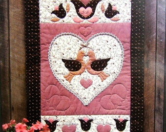 Quilted Wall Hanging Pattern, Folk Art Hearts and Flowers, Calico Hills Farm, 1981