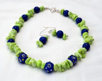 Blue and Lime Green Necklace & Earrings