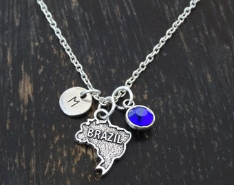Brazil Necklace, Brazil Charm, Brazil Pendant, Brazil Jewelry, Brazil Map, Brazilian Necklace, Brazilian Jewelry, Brazilian Girl