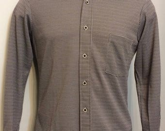 Vintage MENS Sears Kings Road white & brown houndstooth knit shirt, circa 70s