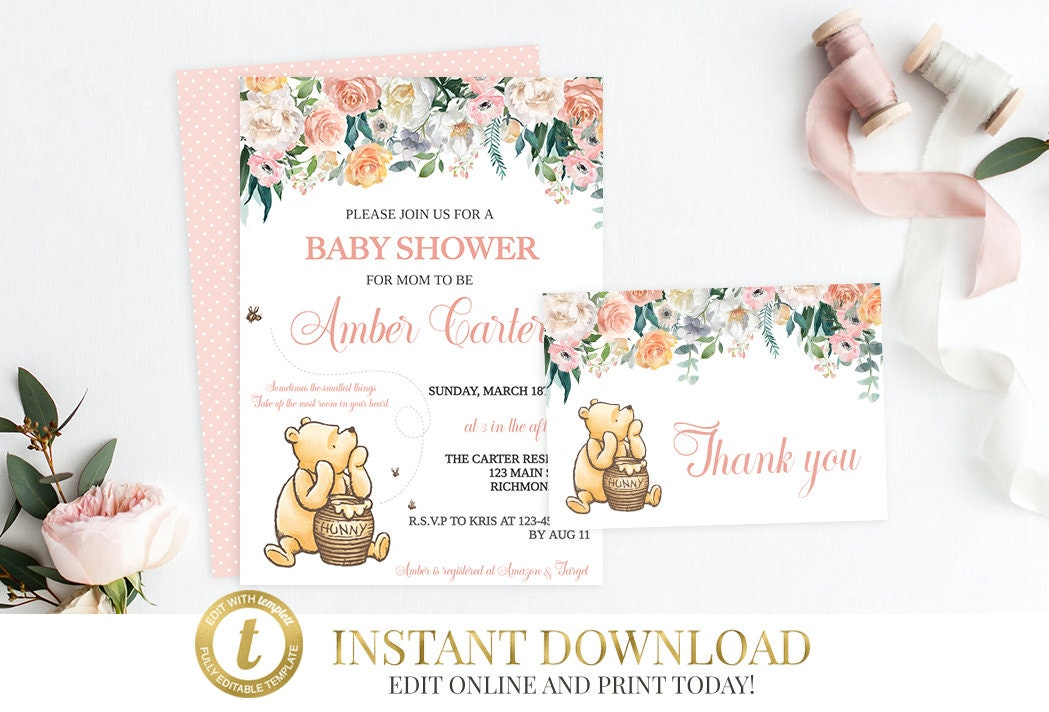 Girl Winnie the Pooh Baby Shower Bundle Classic Pooh Baby Shower ...